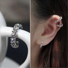 2X Women Silver Ear Cuff Crystal Rhinestone Wrap Cartilage Clip On Stud Earringh