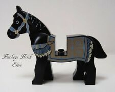 NEW Lego Minifig Animal BLACK HORSE with Persian Blanket Pattern