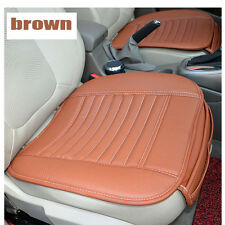 New Universal 3PC Breathable Charcoal Leather Seat Cover Set Front & Rear Brown