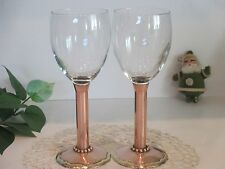 RARE VINTAGE SIGNED MM PAIR OF COPPER & BRASS BASE WINE GLASS STEMWARE  Nice