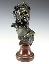 Patinated Bronze Bust of Satyr or Faun Smiling figure w/ grape leaves encircled