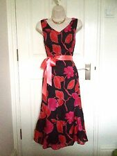 Jacques Vert Black Pink Cocktail Party Dress Outfit Size 12 Wedding Guest