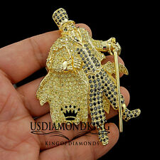 CANARY BLACK LAB DIAMOND HIP HOP MAGIC MEN PUNK SKULL HAT CUSTOM CHARM PENDANT
