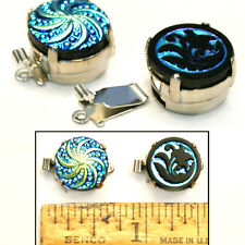 14mm Vintage Czech Glass Carnival BLUE AB FLOWER Swirl SILVER BUTTON CLASPS 2pc
