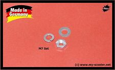 5x SET   Vespa Mutter M7 mit Unterlegscheibe, Federring - SET   DIN 934