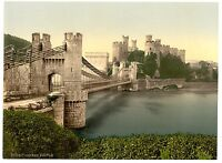 2 Victorian Views of Conway Conwy Castle Castell Repro Old Vintage 2 Photo set