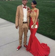 Mermaid Red Long Prom Dresses Gold Appliques Evening Wedding Party Gowns Custom