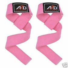 ARD CHAMPS™ Hand Bar Weight Lifting Cotton Straps Strength Training Workout PINK