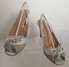 Tod's Designer Beige/Cream Leather Two Tone Sling Back Open Toe UK 5.5 EU 38.5