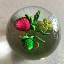 KEN ROSENFELD Strawberry and Bud Paperweight Brand New!!