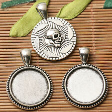 4pcs dark silver rim skull head pattern round cabochon setting in 20mm EF3205