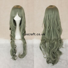 80cm long wavy curly cosplay wig in slate green, UK seller, Jeri style