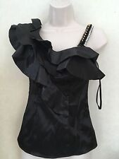 River Island Black Sexy Tops Shining One Side Shoulder Size 6 / £ 34.99