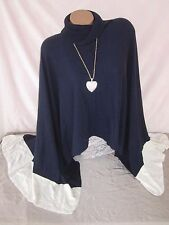 WHITE HOUSE BLACK MARKET Colorblock Poncho Sweater Wrap M NWT