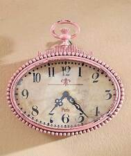 Metal Wall Clock Art Vintage Distressed Victorian Pocket Watch PINK Wall Decor