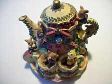 Tea For Two Moving Animated Music Box Mice Floral Cat Bird Teapot Figure cLOSeT