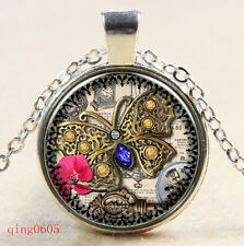 Vintage Steampunk butterfly Cabochon Tibetan silver Glass Chain Pendant Necklace