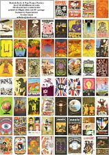 BRITISH ROCK CONCERT & PROMO POSTERS- 60 ALL DIFFERENT A6 ART CARDS
