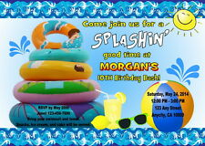 POOL PARTY CUSTOM PRINTABLE BIRTHDAY PARTY INVITATION & FREE THANK U CARD