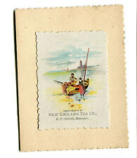 Victorian Trade Card New Years Card NEW ENGLAND TEA CO 1888 coffee boat