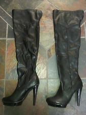 "STEVE MADDEN Over the Knee BLACK PLATFORM BOOT 5"" Heel (Womens Size 11) NWOT"