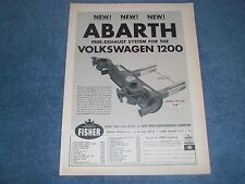 1964 Abarth Exhaust Systems Volkswagen 1200 Vintage Ad VW
