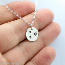 THREE ETCHED STARS NECKLACE - 925 Sterling Silver Marcasite Disc Moon Celestial