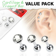 3 Pc 16g 3mm, 4mm, 5mm Clear C.Z. surgical steel tragus/ Triple helix cartilage