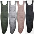 New Ladies Womens Ruched Maxi Scoop Neck Sleeveless Bodycon Stretchy Dress Top