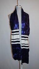 JUICY COUTURE Navy Sea - Blue Metallic & White Acrylic Knit Oblong Scarf NWT