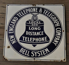 Antique New England Telephone & Telegraph Porcelain Flat Sign 18""
