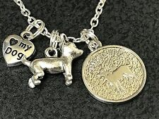 """Dog Chihuahua Round Charms Tibetan Silver 18"""" Necklace BIN"""