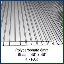"POLYCARBONATE 8mm SHEETS 48"" x 48"" - 4 Pack for GREENHOUSE COVER and Aquaponics"