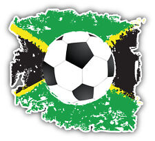 Grunge Jamaica Flag Soccer Ball Car Bumper Sticker Decal 5'' x 5''