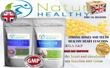 VITAMIN D3 + OMEGA 3 6 9 FATTY ACIDS - HEART FUNCTION HEALTHY BONES TEETH PILLS