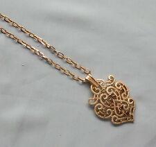 Vintage CROWN TRIFARI Gold Tone Open Design Pendant Necklace