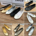 Ladies Women Bow Flat Dolly Slip On Boat Shoes Ballet Ballerina Work Pumps Flats