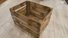BURNT TOURCHED WOOD VINTAGE WOODEN APPLE FRUIT CRATE RUSTIC OLD BUSHEL BOX