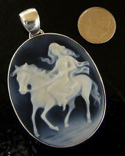 Dark blue & white carved agate & sterling silver woman on a horse cameo pendant