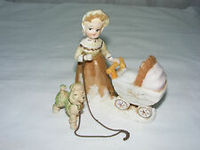 Vintage 1950's 60's Japan Porcelain Lady Baby Carriage & Poodle Figurine