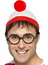 Adult Official Wheres Wally Hat And Where's Wally Glasses Specs Fancy Dress Kit