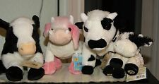 Webkinz Lot Sign. Normande Cow-Sign. Cow-Strawberry Cow-L.K. Cow SOFT-N-SNUGGLY