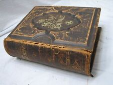 Antique Pictorial Leather Bound Family Parallel Bible 1885 w/Tintype Spoonhour