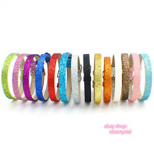 10pcs glitter color PU Belt Wristband DIY Fit 8mm  Slide Charms Slide letters