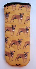 STAFFORDSHIRE BULL TERRIERS  ALL OVER  - GLASSES CASE - cotton- ideal small gift