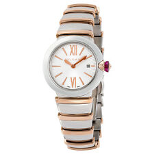 Bvlgari LVCEA Silver Opaline Dial 18kt Pink Gold and Stainless Steel Ladies