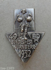 Nadel Bundesfest  Nürnberg 1932  BDR , Abzeichen  Radfahrer