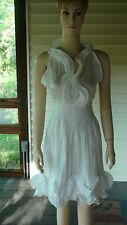 """Moon River"" White Sleeveless Cotton/Poly. Ruffled Dress~Size Large (S/M)~NWT"
