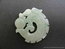 BEAUTIFUL HANDCARVED GREEN JADE DRAGON PENDANT NECKLACE PENDENT TALISMAN D19