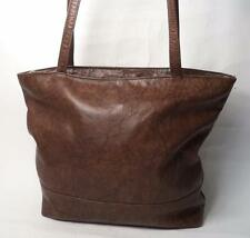 BROWN LEATHER SHOULDER BAG HANDBAG SHOPPER DOUBLE STRAP